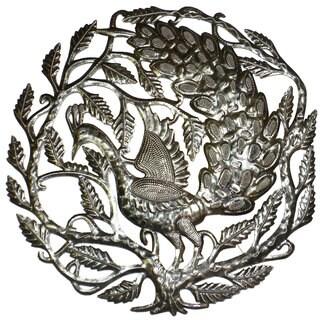 Handmade Peacock 24-inch Metal Art (Haiti)