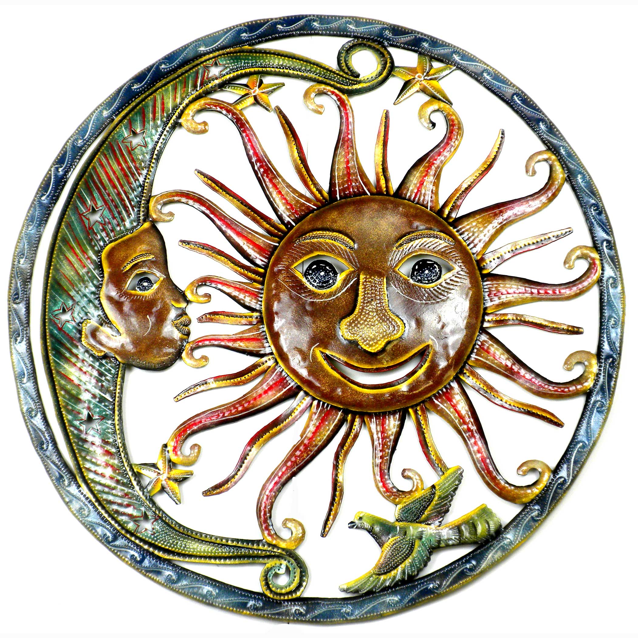 Global Crafts Handmade Painted Sun and Moon Metal Wall Ar...