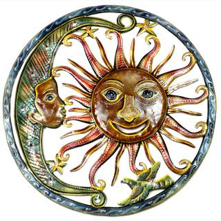 Handmade Painted Sun and Moon Metal Wall Art- 24 inches (Haiti)