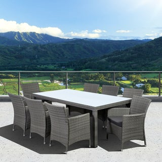Atlantic Grand Liberty Deluxe 9 Piece Grey Rectangular Dining Set
