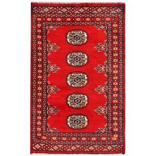 """Herat Oriental Pakistani Hand-knotted Bokhara Wool Rug (1'11"""" x 3'1"""")"""