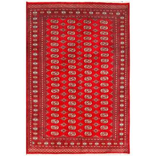 Herat Oriental Pakistani Hand-knotted Bokhara Red/ Ivory Wool Rug (5'11 x 9')