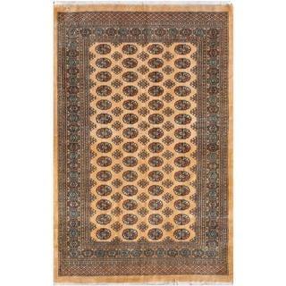 Herat Oriental Pakistani Hand-knotted Bokhara Beige/ Blue Wool Rug (5' x 7'9)