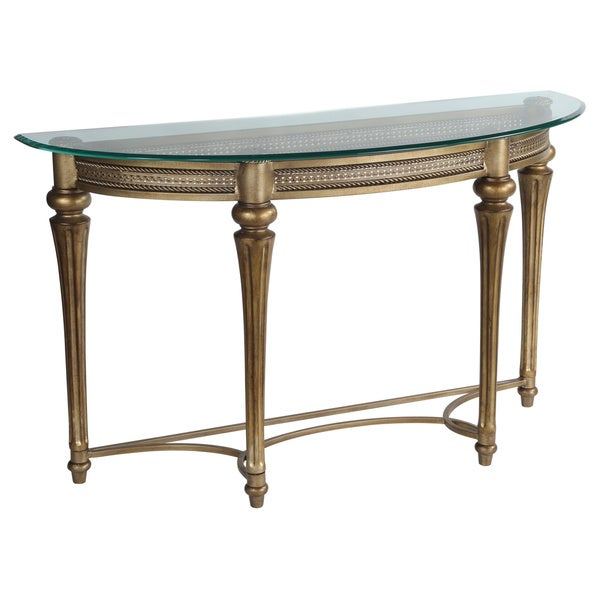 U0027Gallowayu0027 Traditional Wrought Iron Glass Top Demilune Table   Free  Shipping Today   Overstock.com   15390491