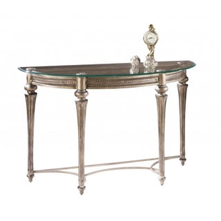 'Galloway' Traditional Wrought Iron Glass-top Demilune Table