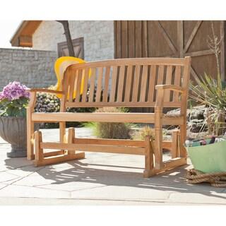 harper blvd reseda teak outdoor glider bench - Teak Bench