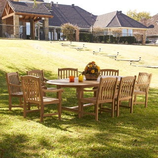 Harper Blvd Manorhill Teak Outdoor Dining Table 9-piece Set