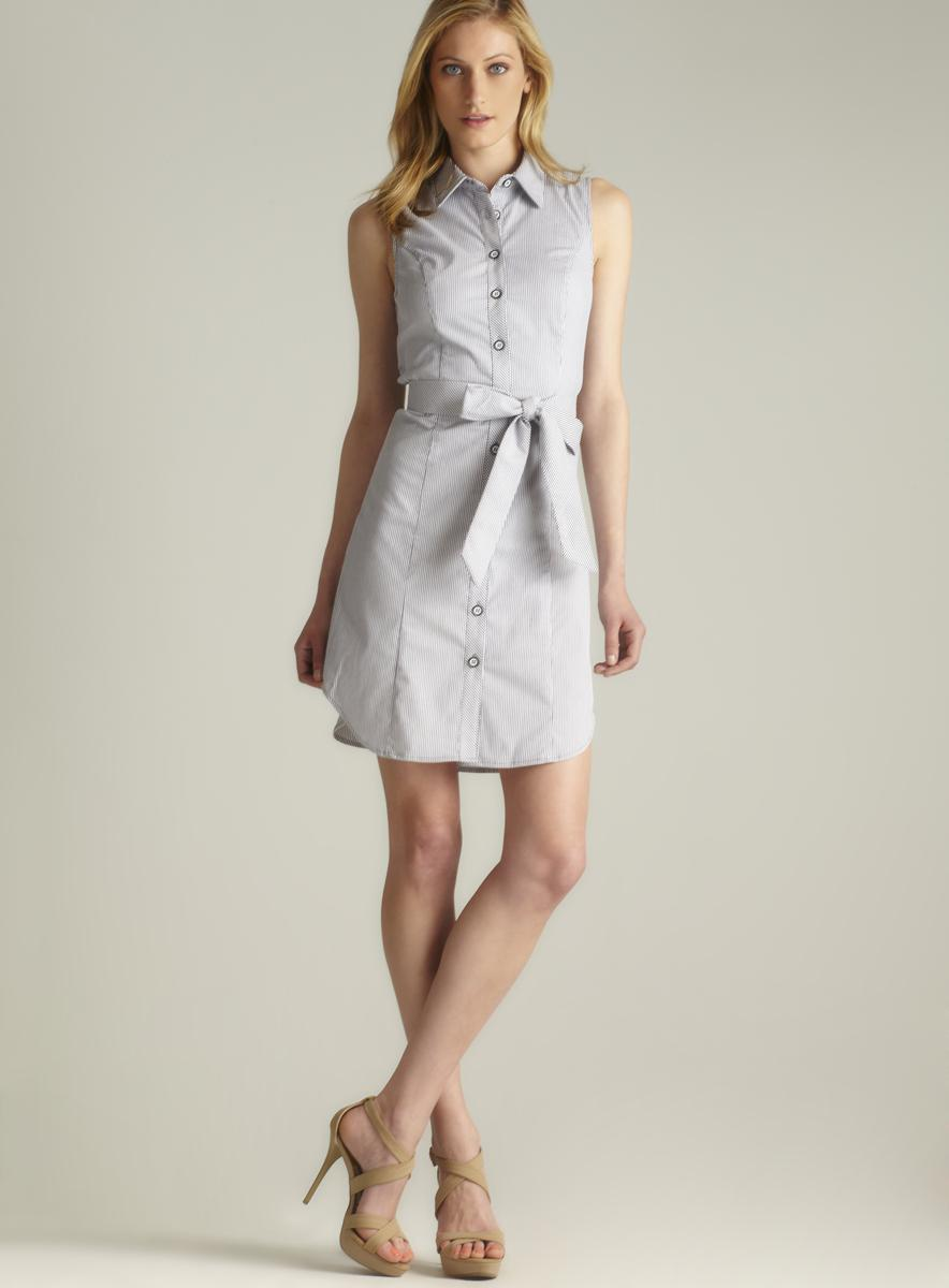 Grace Corded Striped Button Down Shirtdress