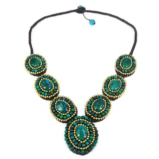 Handmade Mosaic Tribal Circles Malachite Stones Statement Necklace (Thailand)