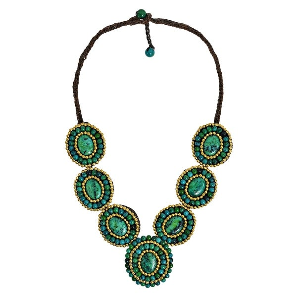 Handmade Tribal Circles Malachite Statement Necklace (Thailand)