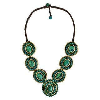 Handmade Mosaic Tribal Circles Malachite Stones Statement Necklace