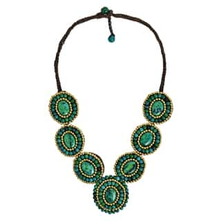 Handmade Mosaic Tribal Circles Malachite Stones Statement Necklace|https://ak1.ostkcdn.com/images/products/8032165/P15392861.jpg?impolicy=medium