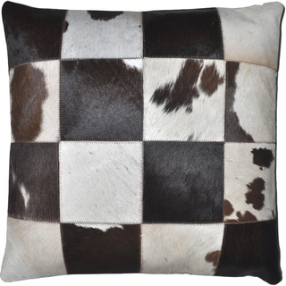 Dark Brown Leather Hide Hair Matador Pillow 18-inch