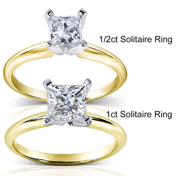 Annello by Kobelli 14k Two-tone Gold Round Cut Diamond Wrap or Princess Cut Solitaire Ring