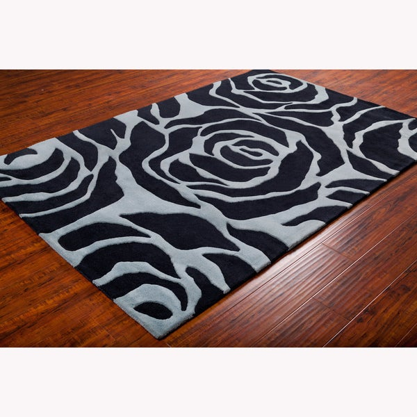 Artist's Loom Hand-tufted Transitional Floral Wool Rug (5'x7') - 5' x 7'6
