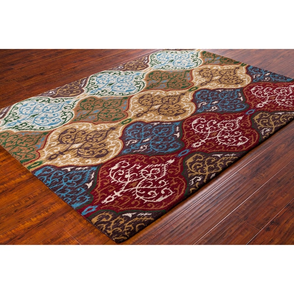Artist's Loom Hand-tufted Contemporary Abstract Wool Rug - 5' x 7'