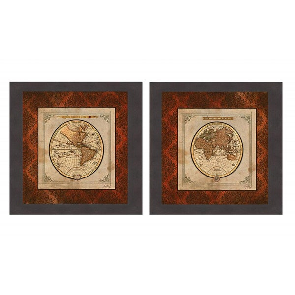 Elizabeth Medley 'Red Damask Map I & II' Framed Print