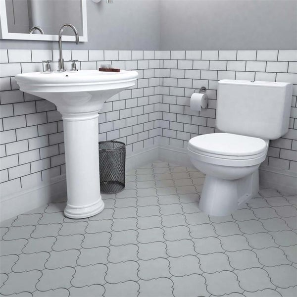 Shop SomerTile Xinch Morocco Grey Porcelain Floor And Wall Tile - 16 x 16 white ceramic floor tile