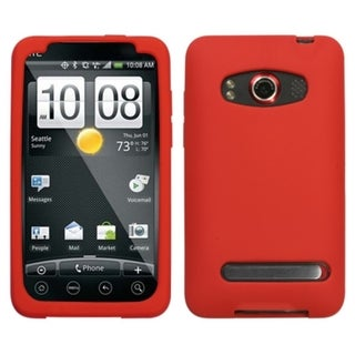 INSTEN Solid Red Skin Phone Case Cover for HTC EVO 4G