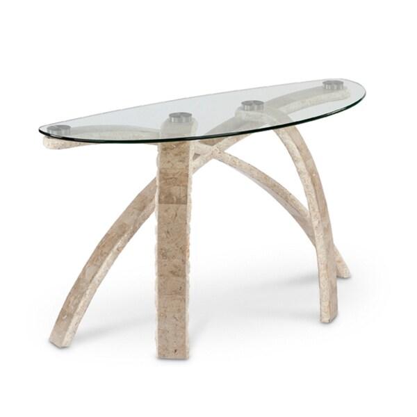 Cascade Stone And Glass Demilune Sofa Table Free