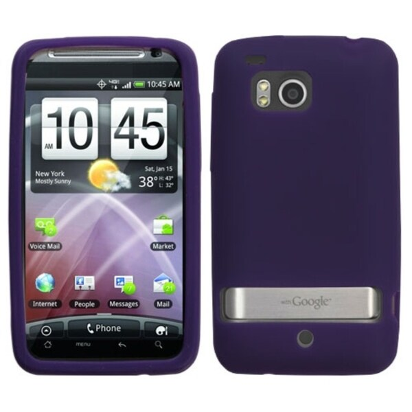 INSTEN Solid Dark Purple Skin Phone Case Cover for HTC ADR6400 Thunderbolt