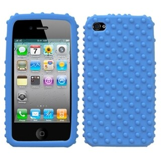 INSTEN Solid Dark Blue/ Dots Skin Phone Case Cover for Apple iPhone 4S/ 4