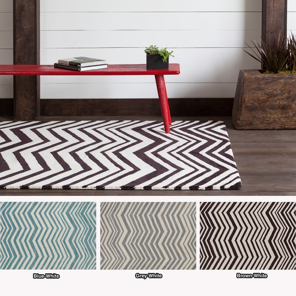 Artist's Loom Hand-tufted Contemporary Chevron Wool Rug (5'x7') - 5'x7'