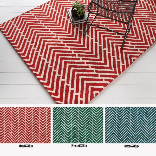 Artist's Loom Hand-tufted Contemporary Chevron Wool Rug (5'x7') - 5' x 7'