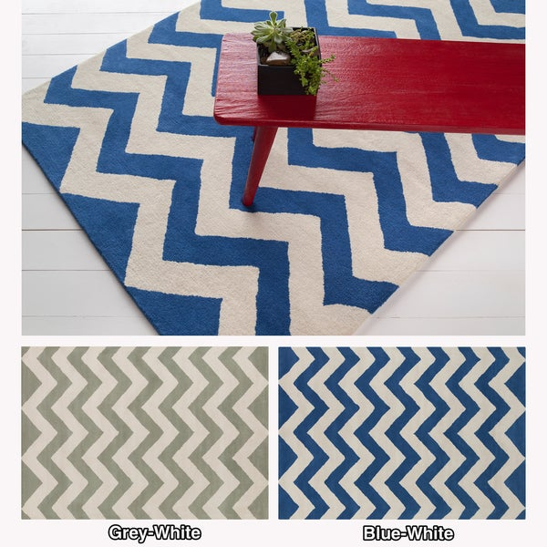 Artist's Loom Hand-tufted Contemporary Chevron Wool Rug (7'x10') - 7' x 10'