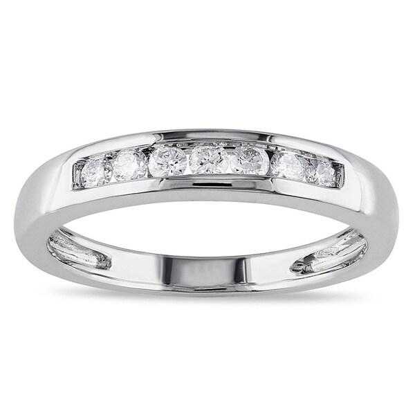 Miadora 14k White Gold 1/4ct TDW Diamond Anniversary Ring
