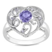 Miadora Sterling Silver Tanzanite and Diamond Heart Ring