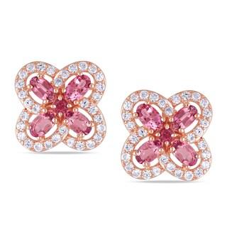 Miadora Rose Goldplated Silver Pink Tourmaline Flower Earrings
