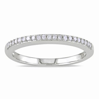 Miadora 10k White Gold 1/10ct TDW Diamond Anniversary Stackable Wedding Band Ring