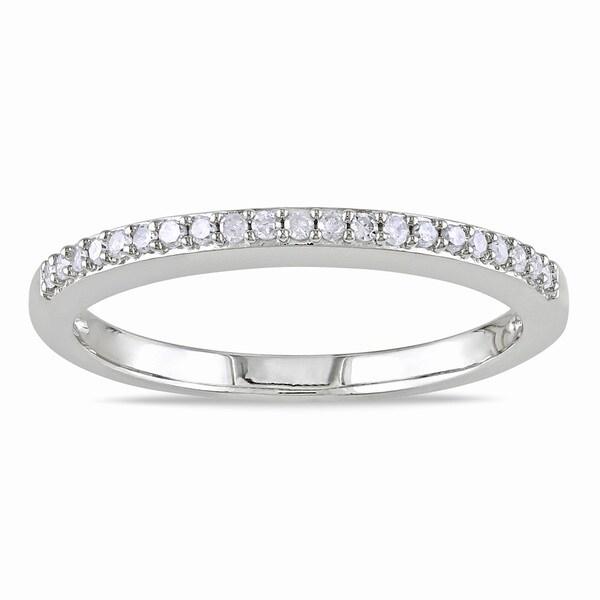 Miadora 10k White Gold 1/10ct TDW Diamond Anniversary Stackable Wedding Band Ring (G-H, I2-I3)