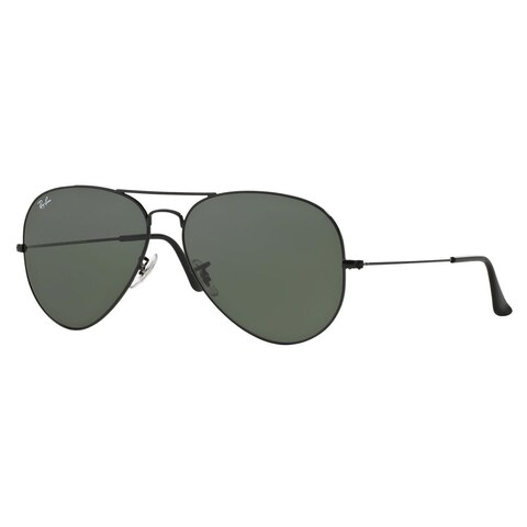 Ray-Ban RB3026 Aviator Classic Sunglasses Black/ Green Classic 62mm