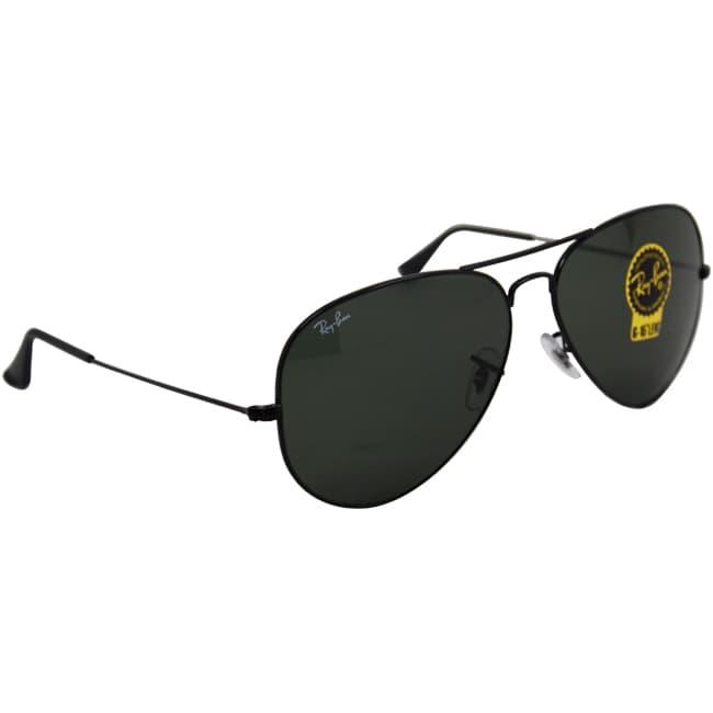Ray Ban Rb3026 Aviator Black Frame Green Classic 62mm Lens Sunglasses
