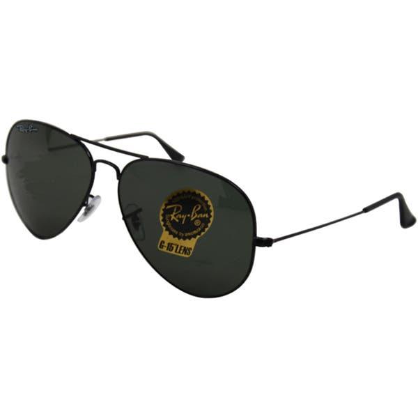 b50e59e2a Ray-Ban RB3026 Aviator Black Frame Green Classic 62mm Lens Sunglasses