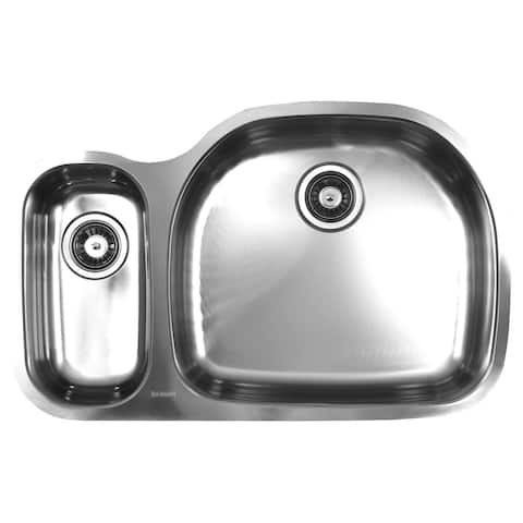 Ukinox Double Basin Stainless Steel Undermount Kitchen Sink - 70/30 Left bowl: Square ; Right bowl: D-shape