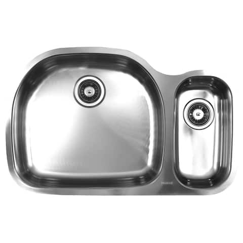 Ukinox Double Basin Stainless Steel Undermount Kitchen Sink - 70/30 Left bowl: D-shape ; Right bowl: Square