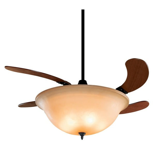 Fanimation Air Shadow 43-inch Glass Shade Retractable 3-light Ceiling Fan