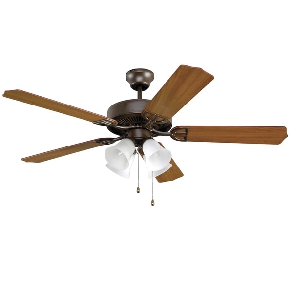 Fanimation Aire Decor 52 Inch Oil Rubbed Bronze 4 Light Frosted Shade Ceiling Fan Free