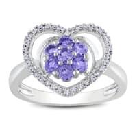 Miadora Sterling Silver Tanzanite and 1/6ct TDW Diamond Ring (H-I, I2-I3)