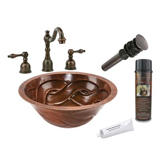 Premier Copper Products Widespread Oil Rubbed Bronze Faucet and Copper Sink Set