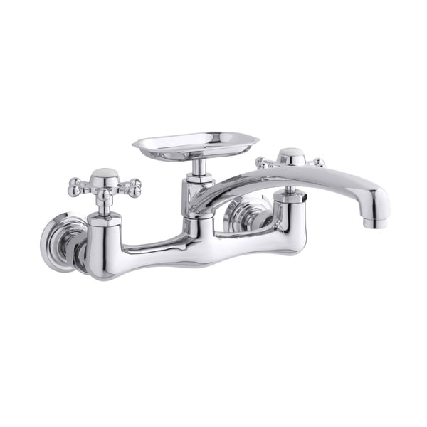 Antique Wall-Mount Sink Faucet with 12-Inch Spout and Six-Prong Handles