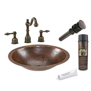 Premier Copper Products Hammered Finish Sink and Widespread Faucet Set