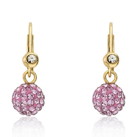 Molly Glitz 14k Gold Overlay Children's Crystal Ball Leverback Earrings