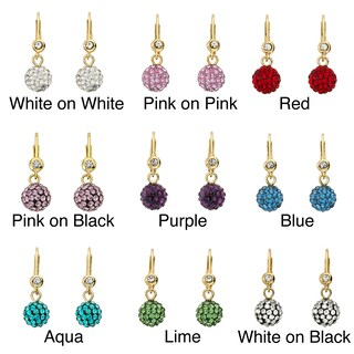 Molly Glitz 14k Gold Overlay Children's Crystal Ball Leverback Earrings (More options available)