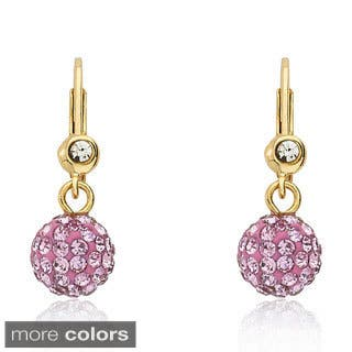 Molly Glitz 14k Gold Overlay Children's Crystal Ball Leverback Earrings|https://ak1.ostkcdn.com/images/products/8033099/P15393741.jpg?impolicy=medium