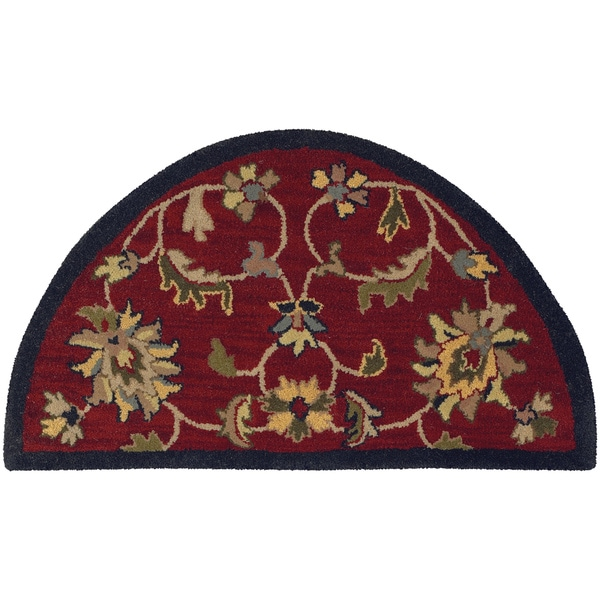 Lnr Home Red Oriental Half Round Area Rug 2 3 X 3 10