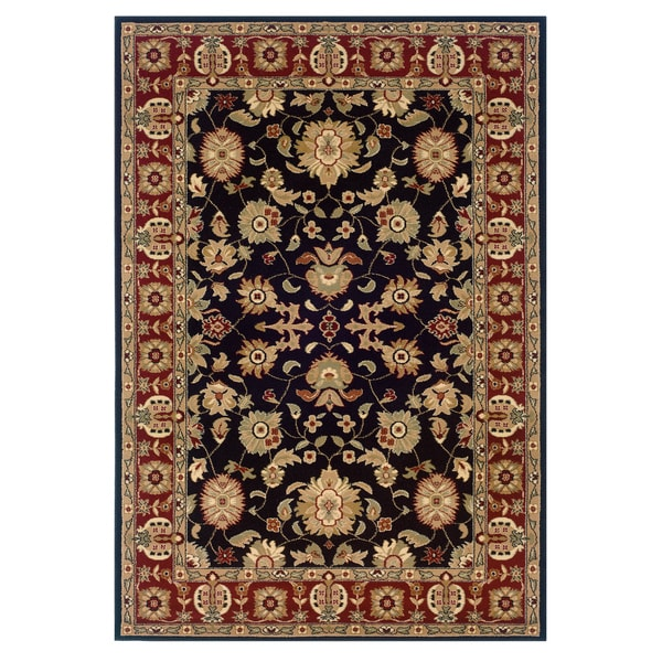 LNR Home Adana Black/ Red Oriental Floral Area Rug (5'3 x 7'5)